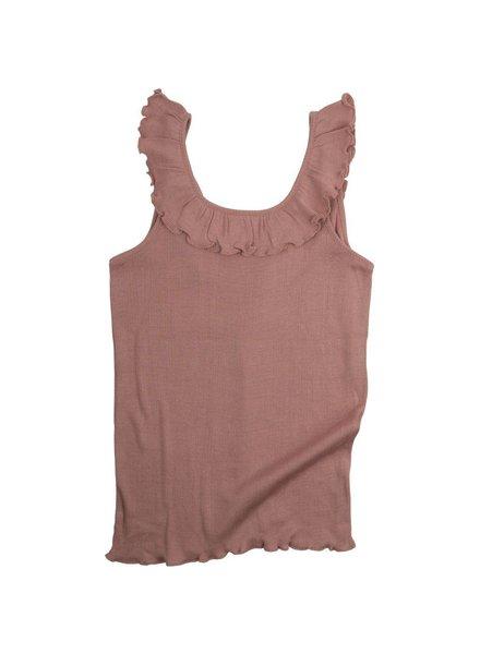Minimalisma zijden meisjestop Herdis - fijne rib - 70% zijde -  tulp roze - 2  tm 10 jaar