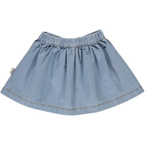 Poudre Organic skirt wooden buttons - 100% organic cotton - light denim -24m to 8y