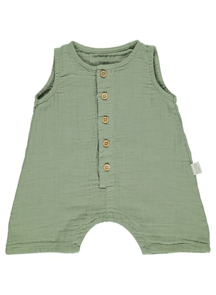 Poudre Organic baby playsuit - 100% organic cotton - oil green - 56 to 104