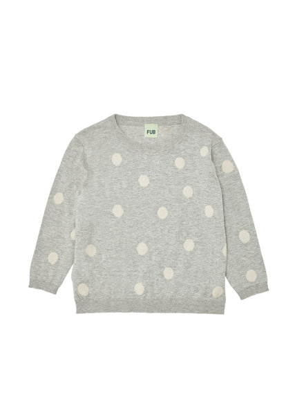 FUB dot blouse - finely knitted - 100% organic cotton - grey/ white dots - 80 to 130
