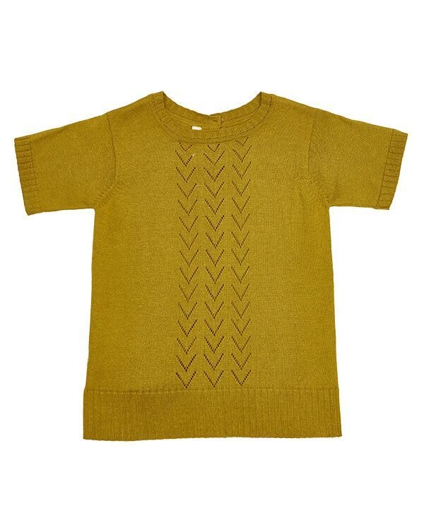 As We Grow lace front short sleeve - 15% alpaca / 85% cotton - antique moss - 18m to 8 years