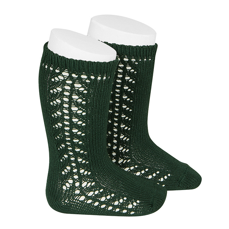 Condor cotton knee highs - side openwork - bottle green - size 0 to 31
