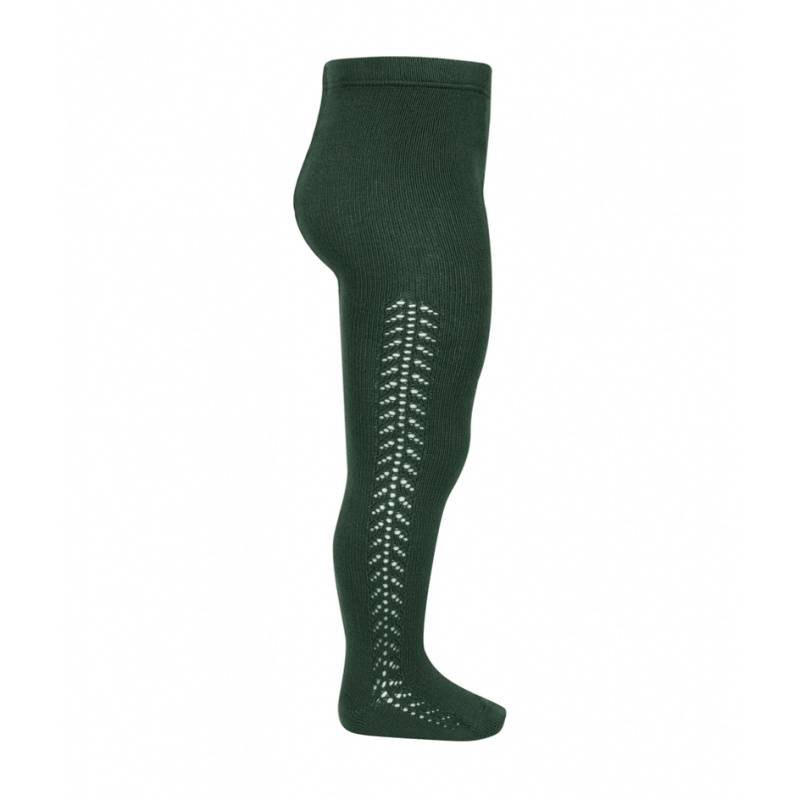 Condor cotton tights - side openwork - bottle green - 50 to 118 cm