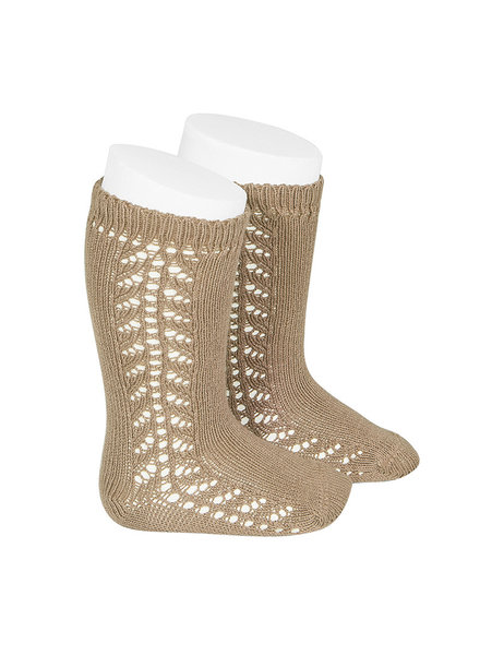 Condor cotton knee highs - side openwork - camel beige - size 0 to 31