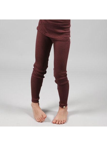 Minimalisma silk leggings BIEBER - fine rib - 7-% silk - mahogany brown - up to 12 years