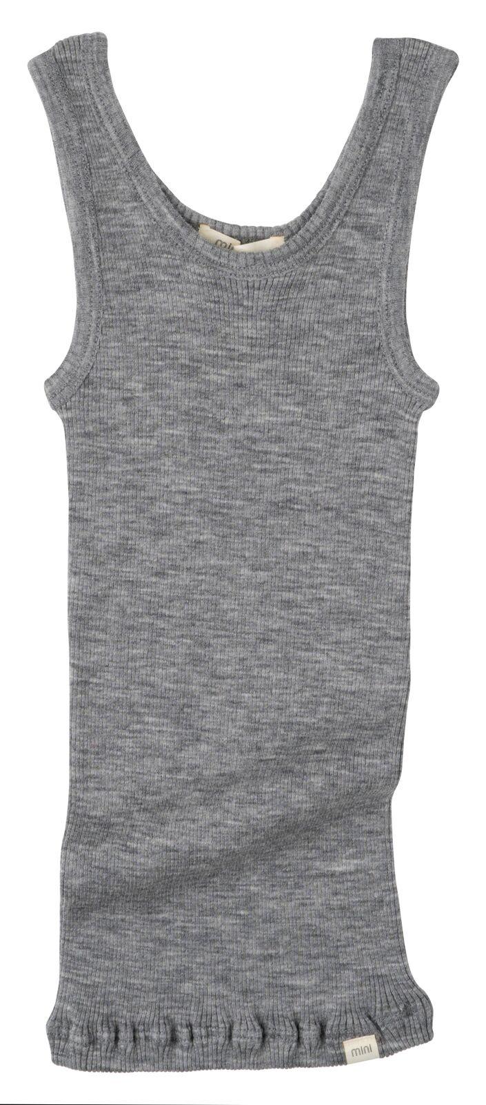 Minimalisma wollen hemd ARENDAL - fijne rib - 100% merino - grijs gemeleerd - 2 tm 12 jaar