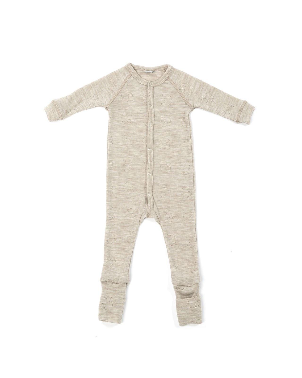 Smallstuff woolen babysuit - 100% merino - beige naturel - size 56 to 92