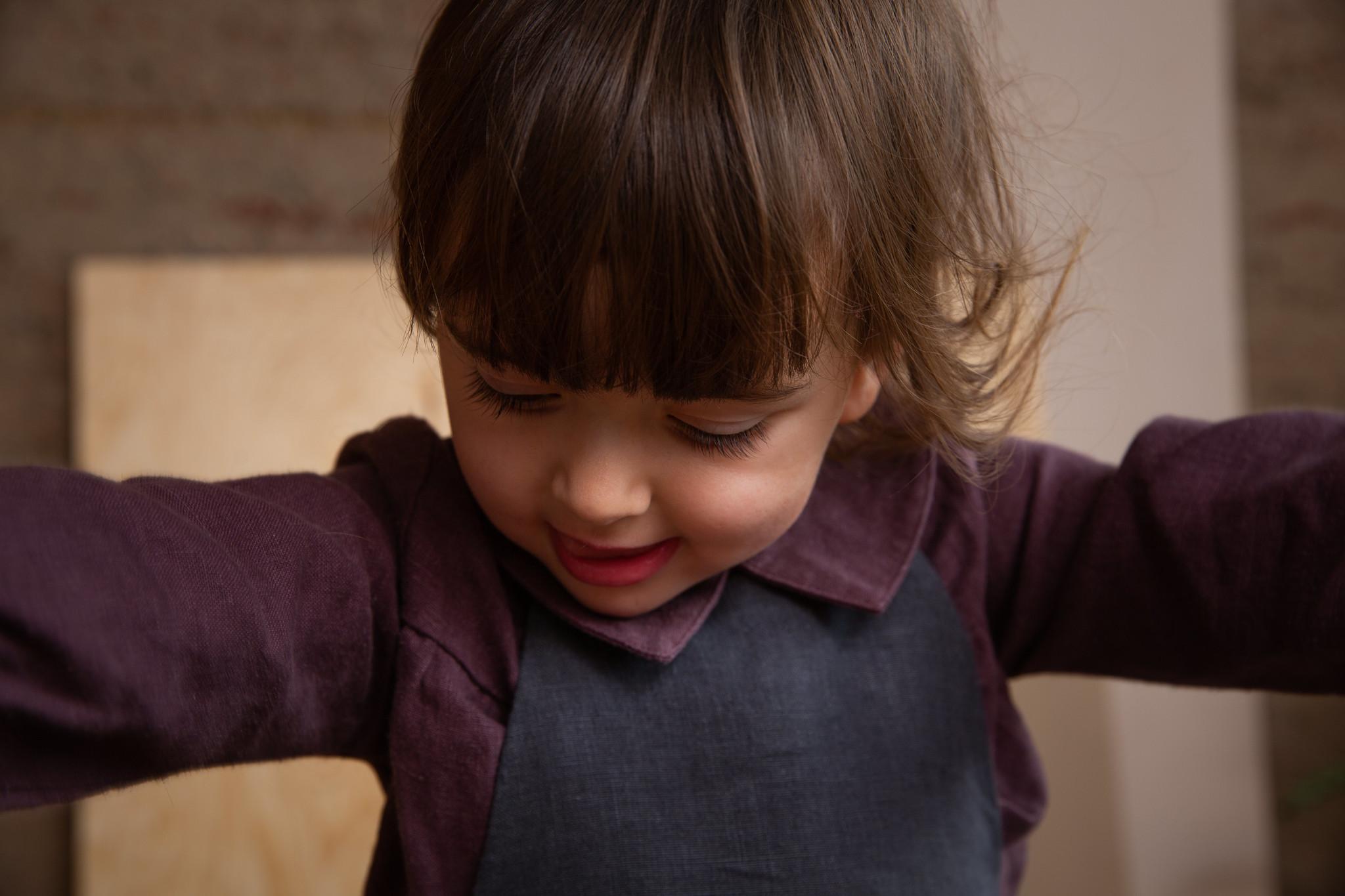 Matona linnen bloes MILA - 100% linnen - donkerpaars - 1 tm 6 jaar