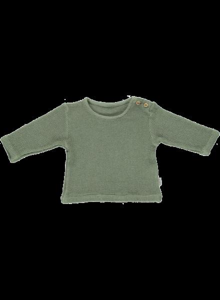 Poudre Organic shirt lange mouw honingraad structuur ESTRAGON - 100% biologisch katoen - zee groen - 6 m tm 8 jaar