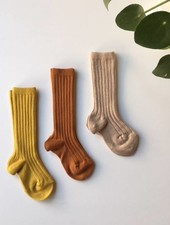 Condor knee socks - ribbed cotton - oxide/ nougat/ curry - size 0 to 35