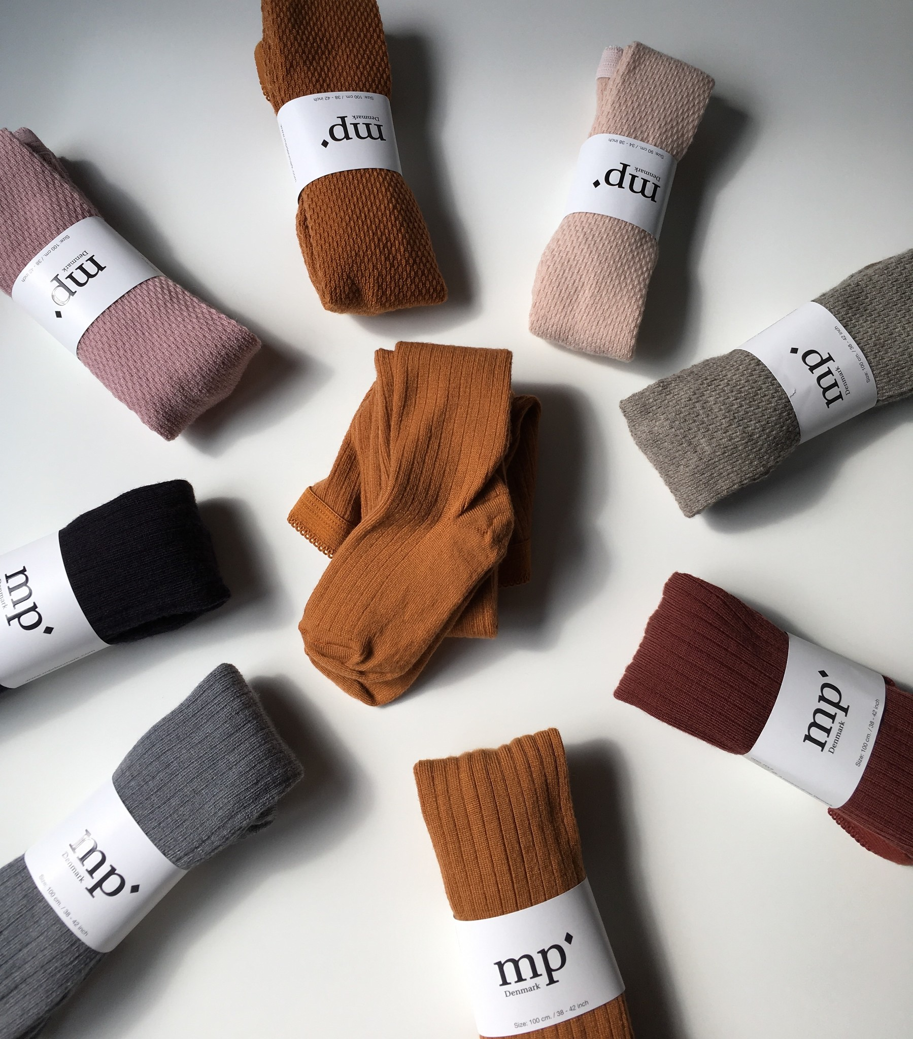 MP Denmark wool tights - ribbed - red brown  - 90 to 160