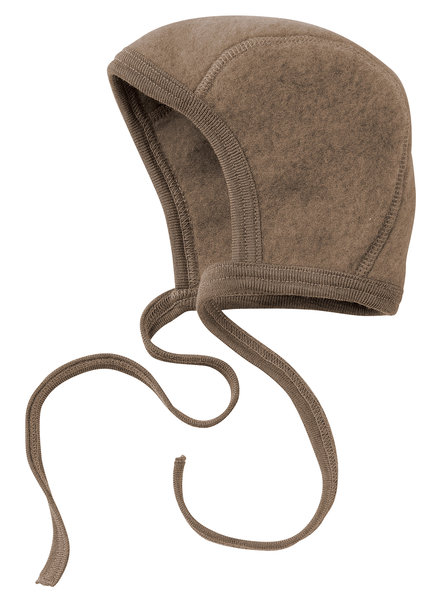 Engel Natur woolen baby bonnet - 100% merino wool fleece - walnut brown - 50 to 68