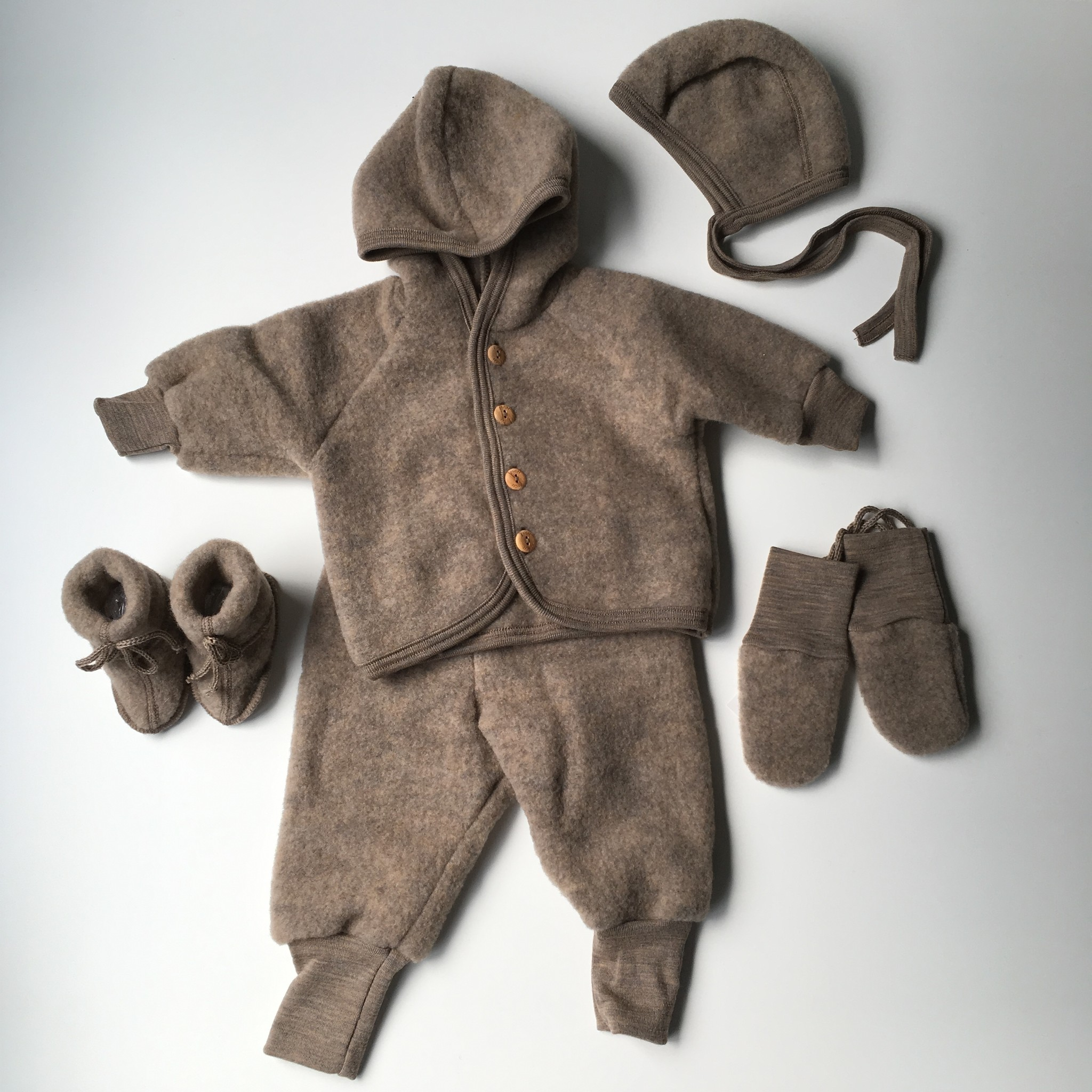 Engel Natur Woolen Baby Jacket Merino Fleece Walnut Brown Truly Wooly Kids Feelgood Childrenswear