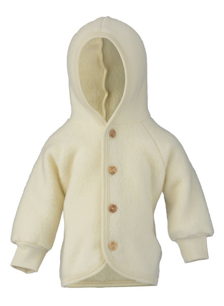 Engel Natur wollen baby jasje - 100% merino wol fleece - naturel wit - 50 tm 68