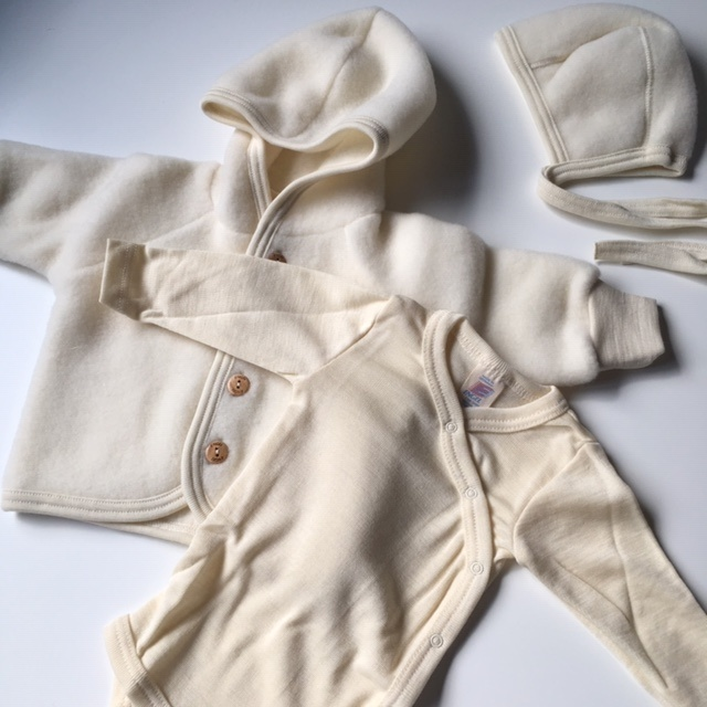 Engel Natur wool baby jacket - 100% merino wool fleece - natural white - 50 to 68