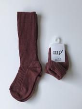 MP Denmark woolen knee socks - 80% merino wool - brown red - size 15 to 32