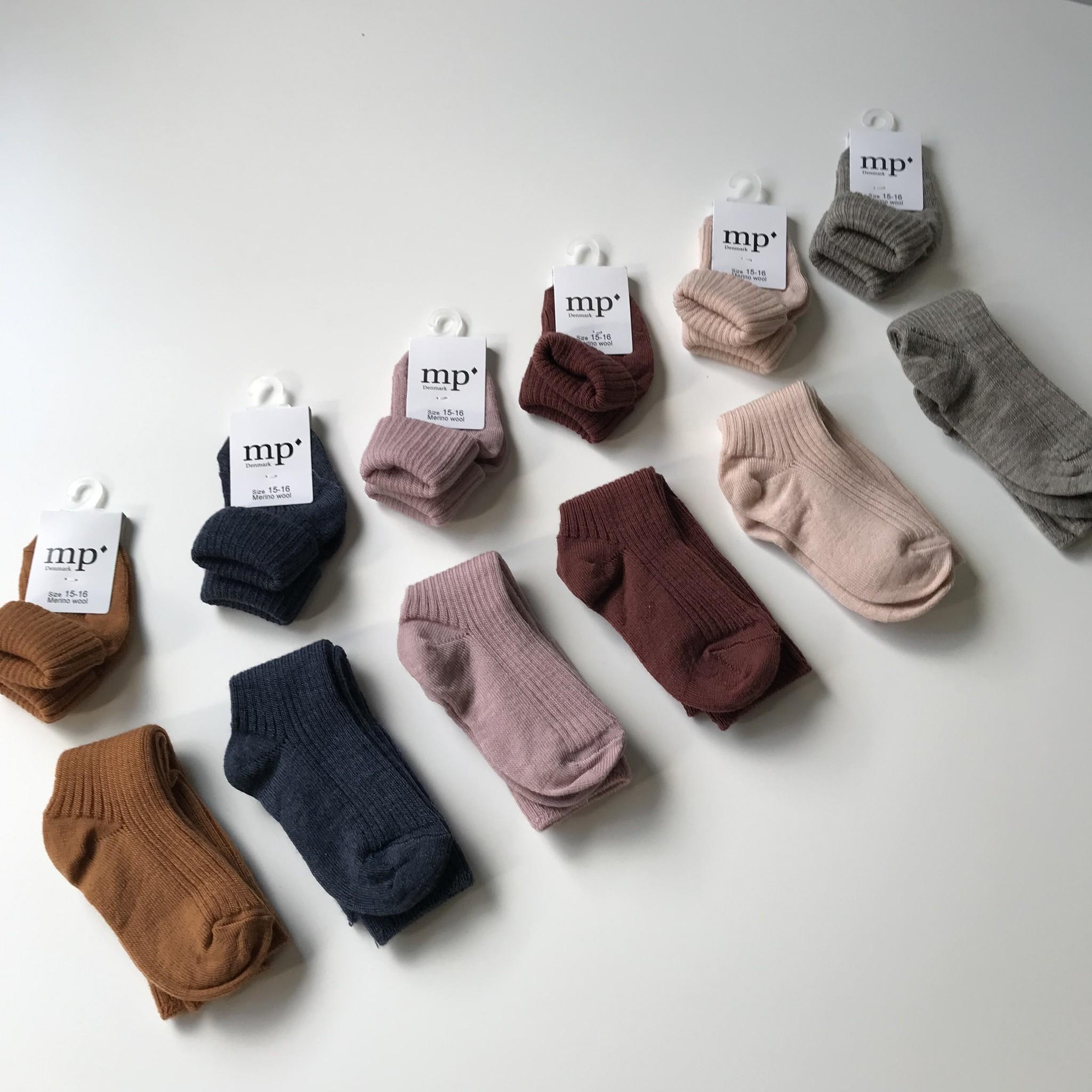 MP Denmark wollen kniekousjes - 80% merino wool - bruin rood - maat 15 tm 32