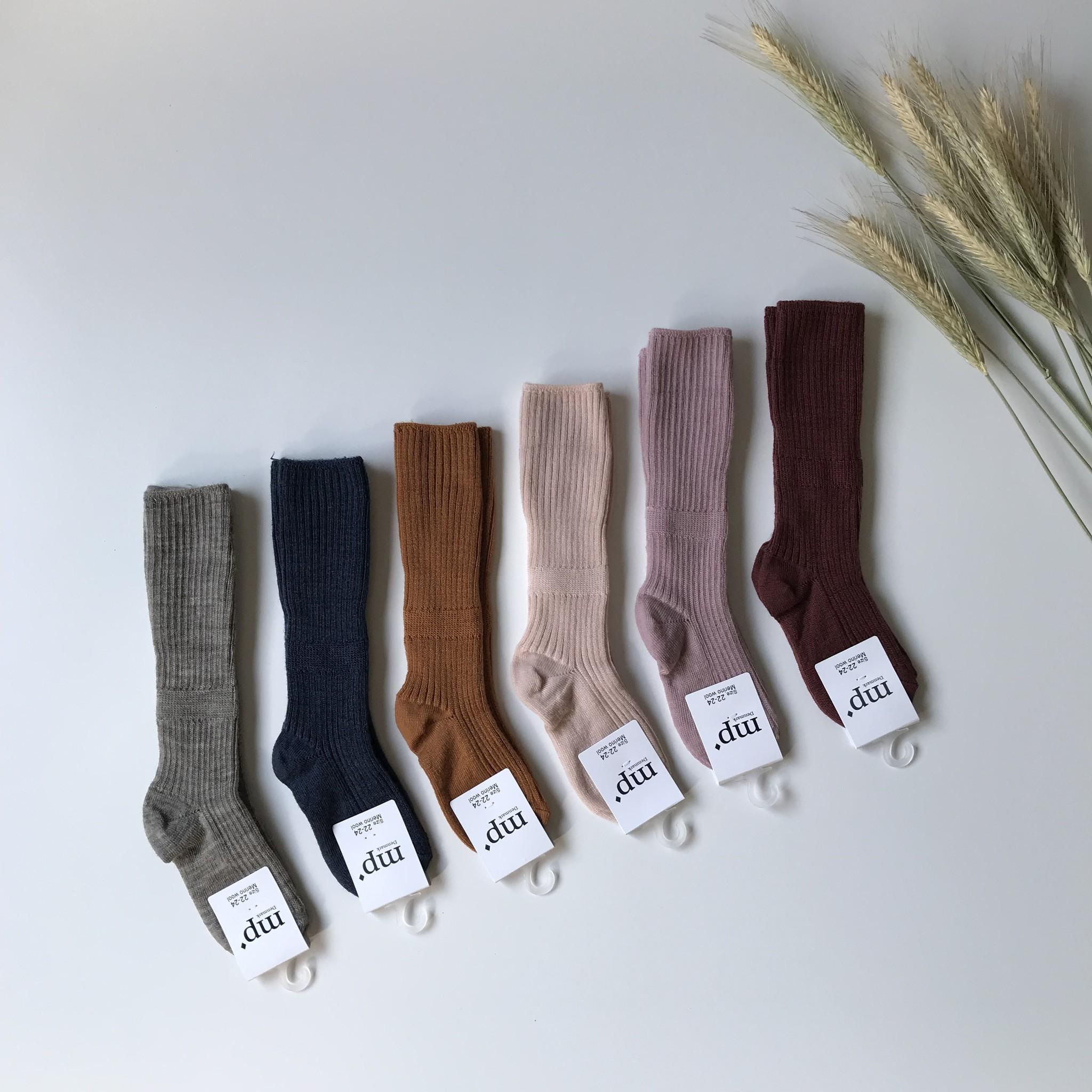 MP Denmark woolen knee socks - 80% merino wool - light roze - size 15 to 32