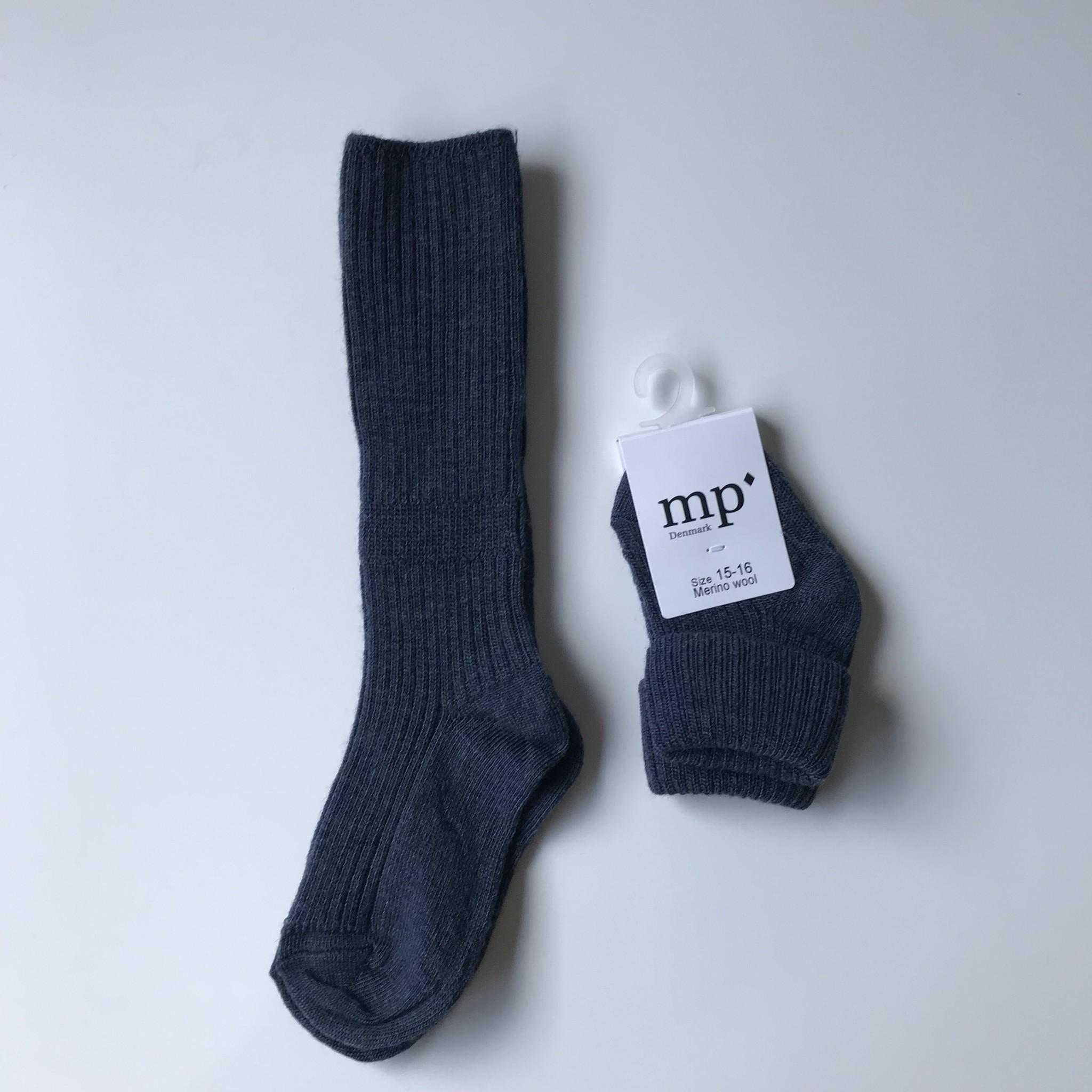 MP Denmark wollen kniekousjes - 80% merino wool - denim blauw - maat 15 tm 32