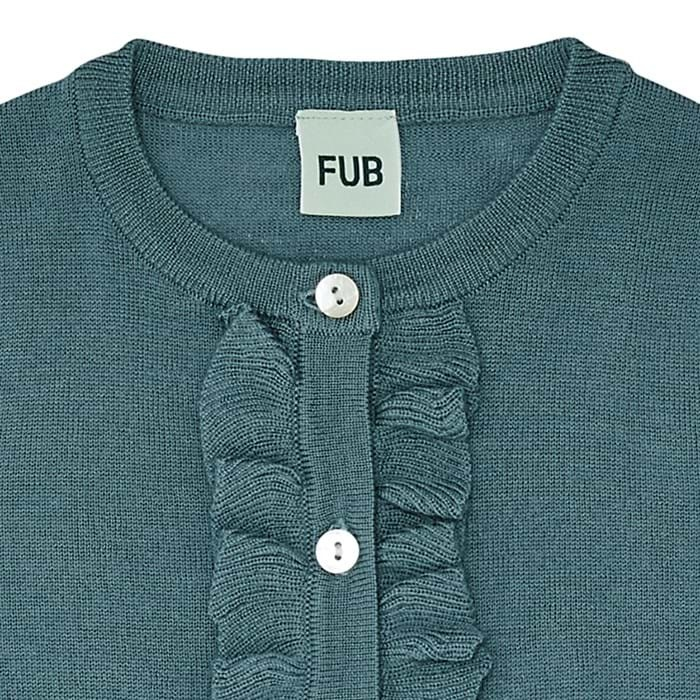 FUB woolen ruffle cardigan with pockets - 100% merino wool fine knitted - ocean blue - 90 to 130