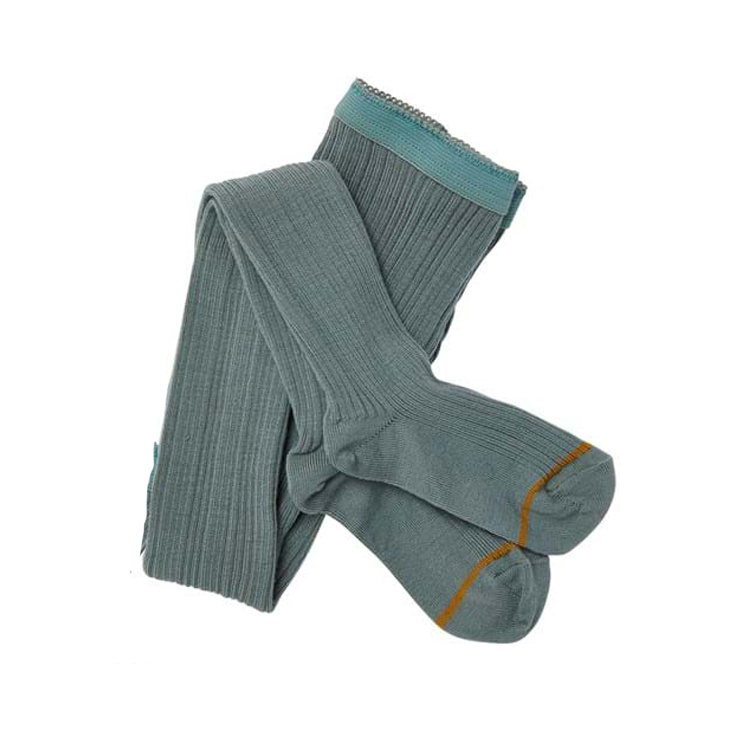 FUB woolen tights  - ribbed - ocean blue - 70 to 130