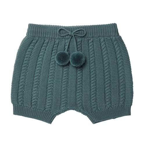 FUB knitted baby bloomer - 100% merino wool - ocean blue - 56 to 92