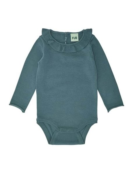 FUB woolen ruffle romper body - 100% merino  wool -ocean blues - size 56 to 92