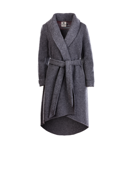 Alwero DANIELLE woolen ladies coat - wrap model - 100% merino wool - anthracite gray - one size