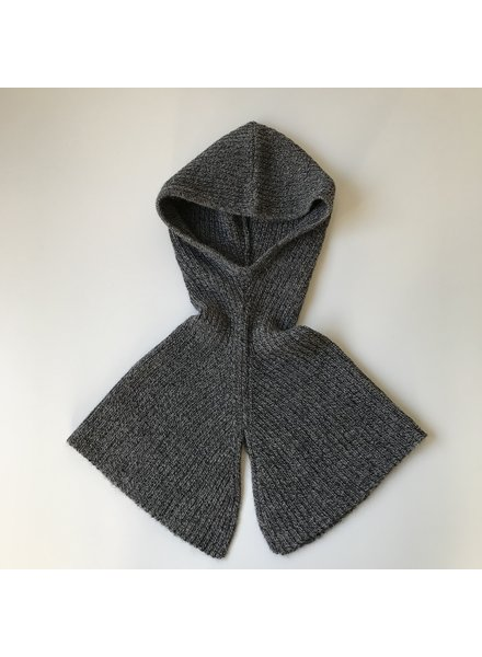 As We Grow wollen rib hood - 100% alpaca - gemeleerd donkergrijs - one size