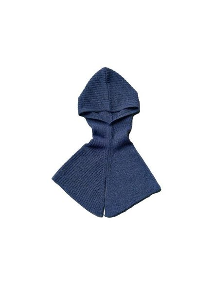 As We Grow wollen rib hood - 100% alpaca - denim blauw - one size