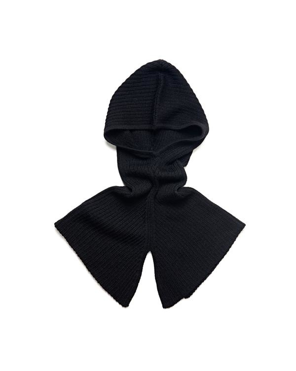 As We Grow wollen rib hood - 100% alpaca - zwart - one size