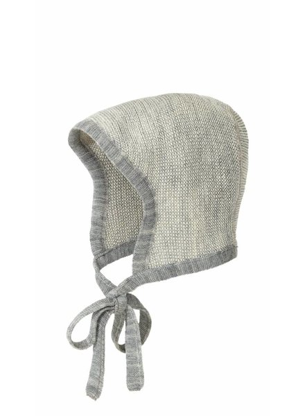 DISANA woolen baby hat knitted - 100% organic merino wool - grey