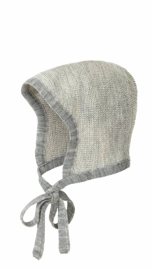 DISANA wollen baby strikmutsje gebreid - 100% biologische merino wol - grijs