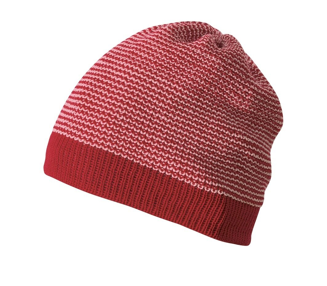DISANA woolen hat knitted - 100% organic merino wool - red/pink
