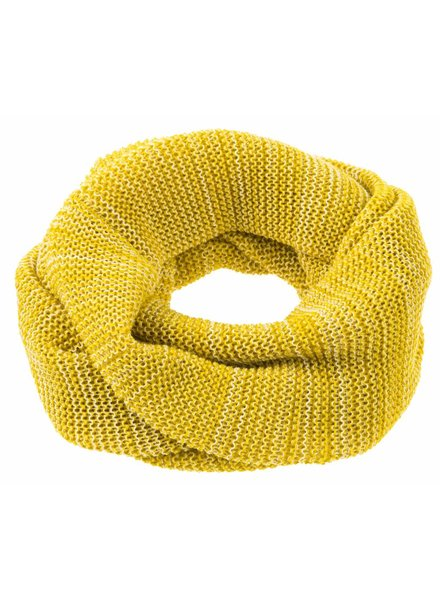 DISANA woolen loop scarf knitted - 100% organic merino wool - curry