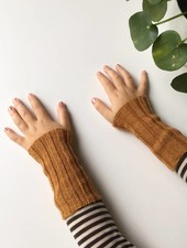 Baby Alpaca by De Colores woolen wristwarmers/ legwarmers set of 2 - knitted in 100% baby alpaca - rib - ochre - one size