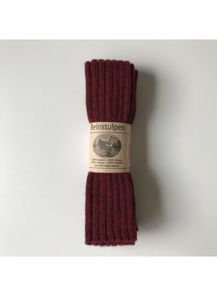 Baby Alpaca by De Colores woolen legwarmers adult - knitted in 100% baby alpaca - rib - wine red