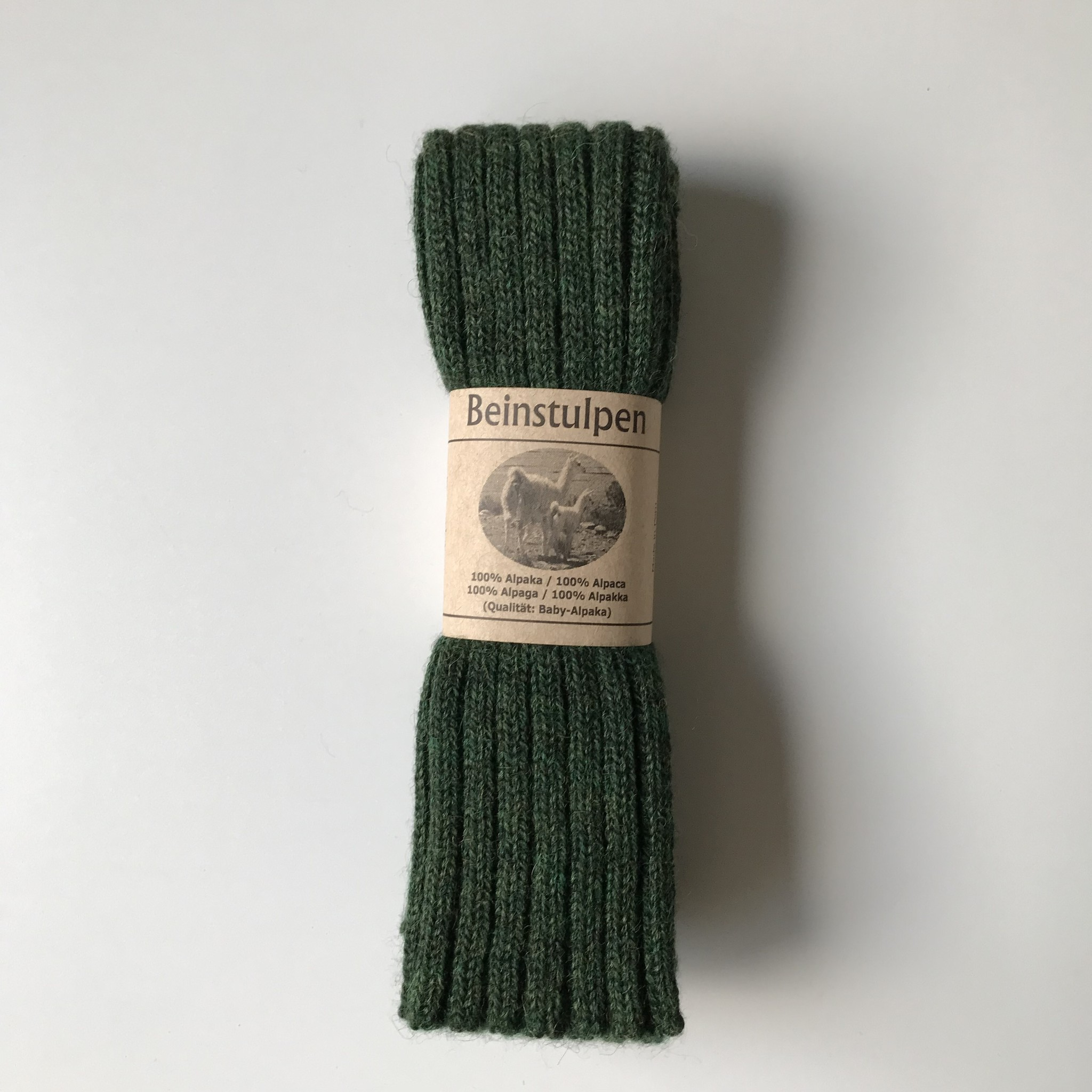 Baby Alpaca by De Colores woolen legwarmers adult - knitted in 100% baby alpaca - rib - moss green