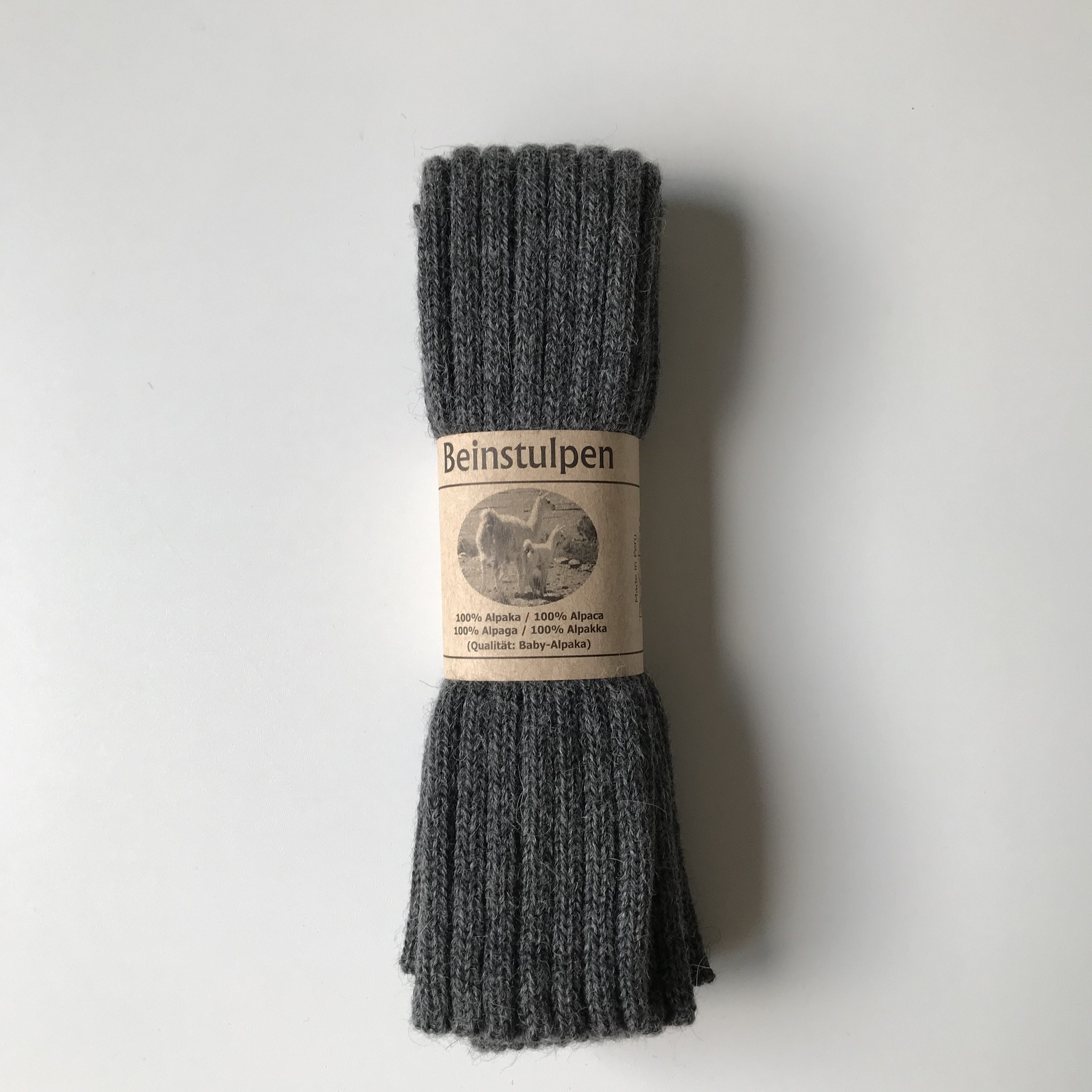 Baby Alpaca by De Colores woolen legwarmers adult - knitted in 100% baby alpaca - rib - dark grey