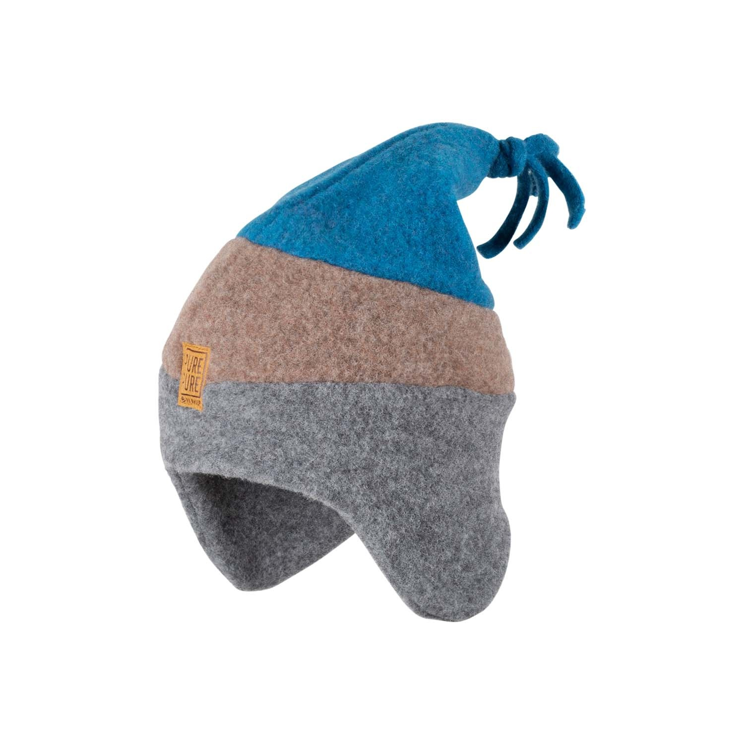 Pure Pure by Bauer - woolen children's hat - 100% organic merino wool fleece - grey/ brown/ petrol blue