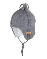 Pure Pure by Bauer - wollen baby muts  - 100% biologische merino wol fleece - antraciet
