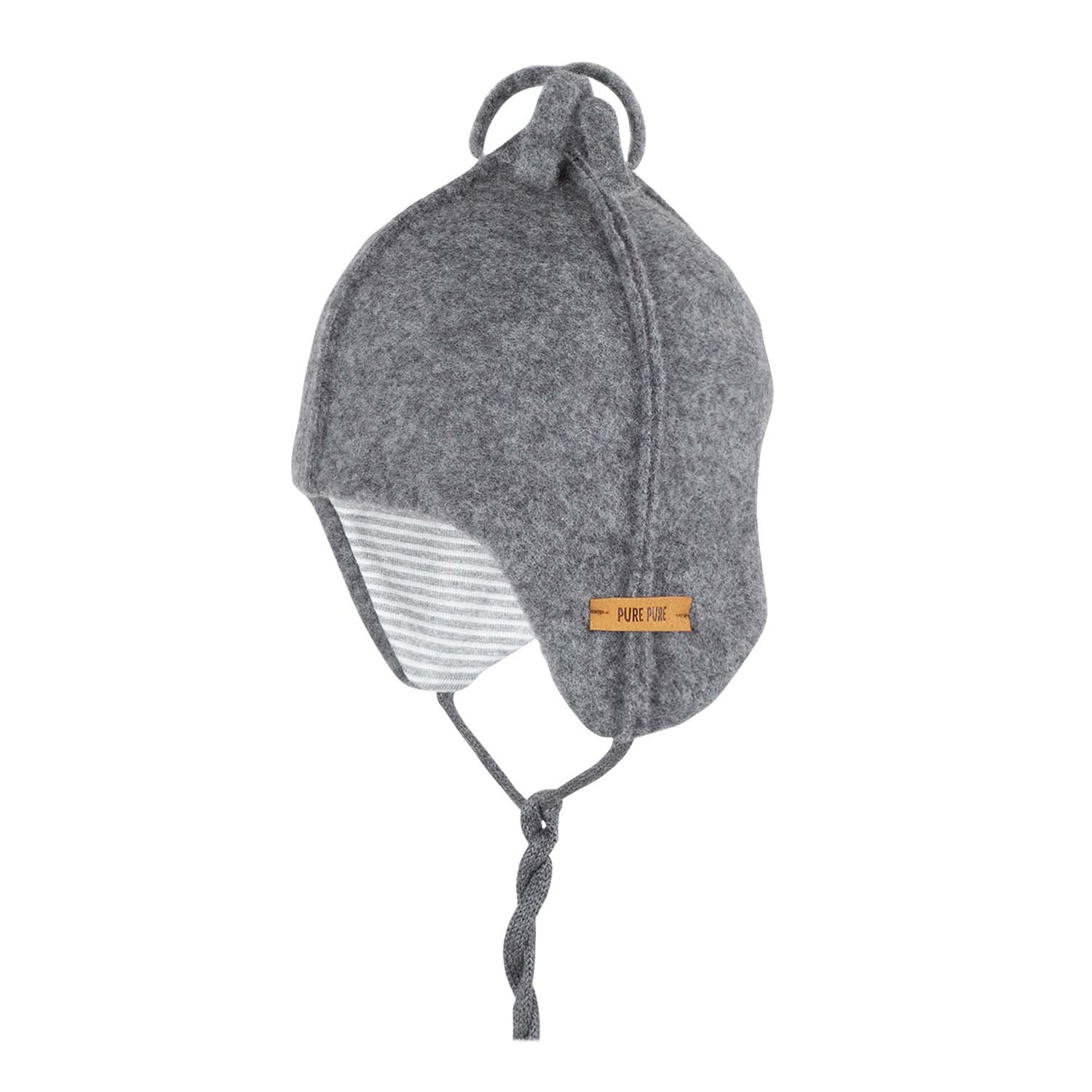 Pure Pure by Bauer - woolen hat  -  100% organic merino wool fleece - grey
