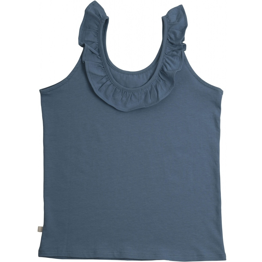 Minimalisma - ruffle top LYS -100% lightweight organic jersey cotton - blue - 2 to 12 years