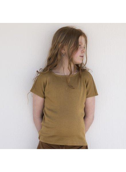 Minimalisma - zijden t-shirt HELLE - fijne rib - 70% zijde/ 30% katoen -  okergeel - 2  tm 12 jaar