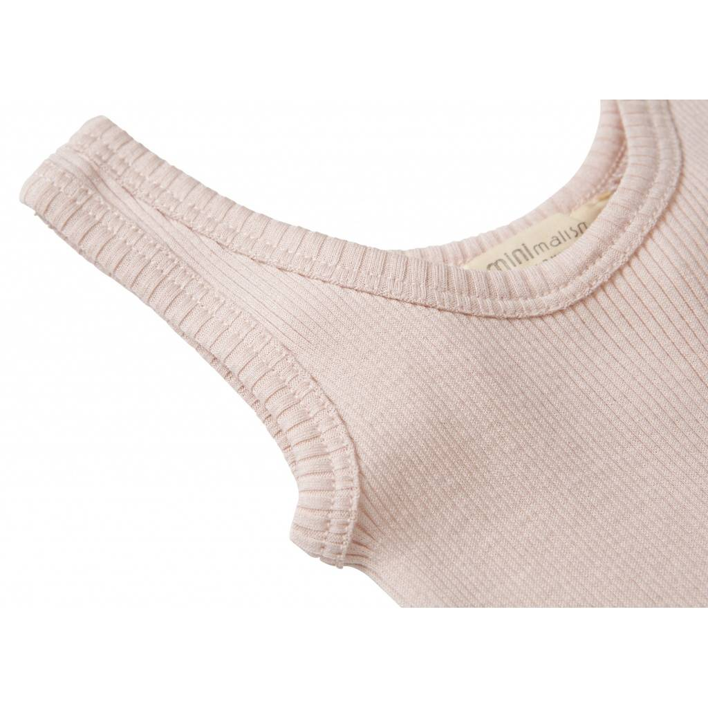 Minimalisma - zijden romper BORNHOLM mouwloos - 70% zijde - zacht roze - 1 m tm 3 jaar