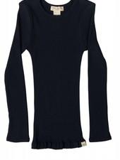 Minimalisma - silk BERGEN long-sleeve shirt - fine rib - 70% silk - dark blue -  2 to 14y