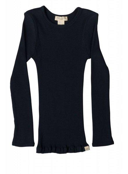 Minimalisma - zijden shirt BERGEN - fijne rib - 70% zijde -  donker blauw - 2 tm 14 jaar
