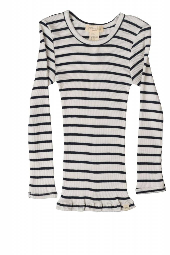 Minimalisma - silk BERGEN long-sleeve shirt - fine rib - 70% silk - sailor stripes -  2 to 12y