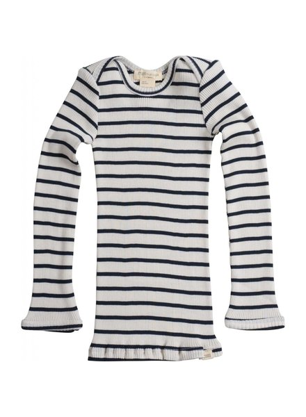 Minimalisma - long-sleeve baby shirt silk BELFAST - fine rib - 70% silk- sailor stripes -  0 to 24 months
