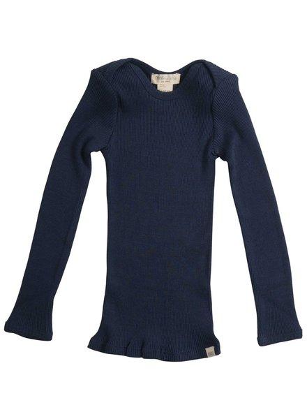 Minimalisma - zijden baby shirt BELFAST - fijne rib - 70% zijde - donker blauw - 0 tm 24 maanden